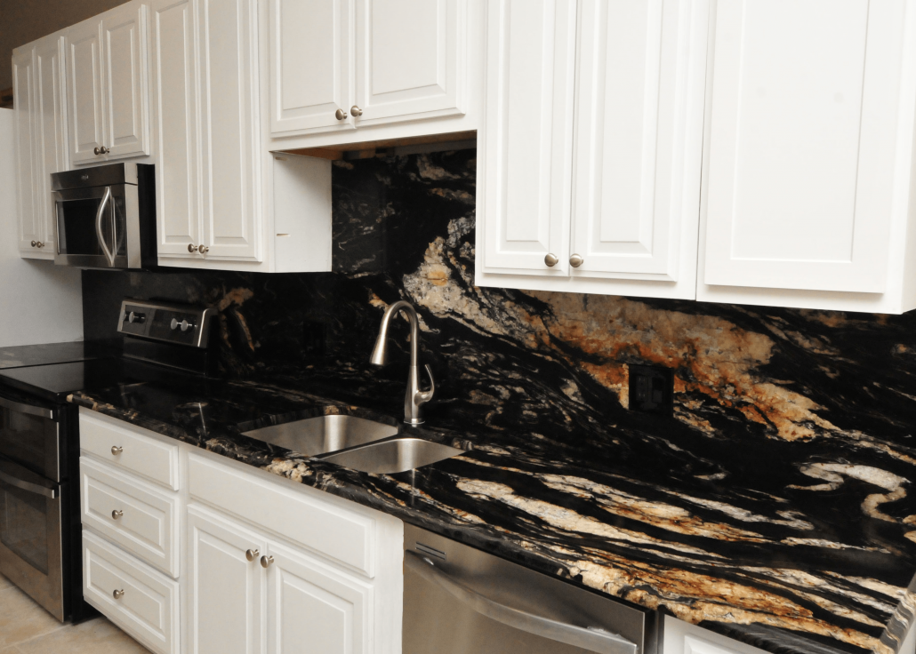 White Kitchen Cabinets With Gold Granite