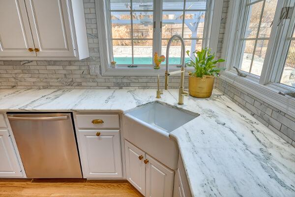 Corner Sink In Marble Countertops Titan Granite St Louis Mo