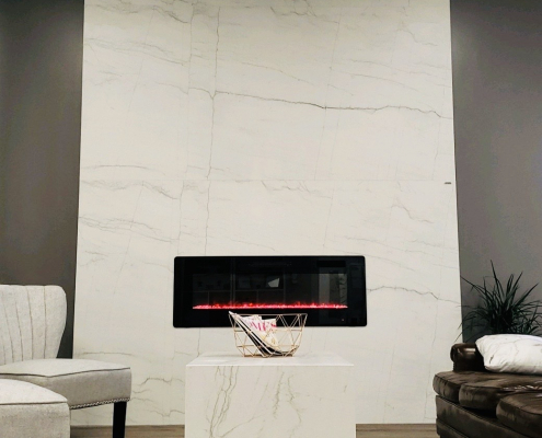 Neolith Floor to Ceiling Fireplace